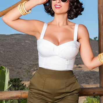 Laura Byrnes California High Waisted Shorts in Olive Twill