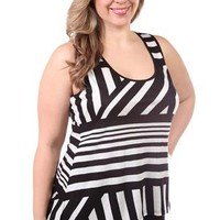 plus size black and white striped shark bite tank - debshops.com