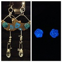 Free Form Dangles W/ Deep Aqua Roses from Whimsy Glow