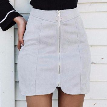 Gracen Empire Suede Skirt