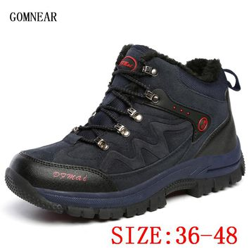 GOMNEAR Winter Big Size Men's And Women's Warm Hiking Shoes Outdoor Hunting Climbing Shoes Trend Trekking Mountain Hiking Boots