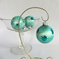 4 Vintage Blue Frosted Shiny Brite Glass Christmas Holiday Tree Ornament Balls - Silver, Turquoise Dots or Spots, Frosty, Icy, Mid Century