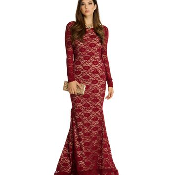 Burgundy Vanessa Beloved Lace Dress