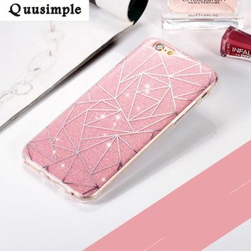 For apple iphone X 8 6 plus 5 5S Phone Case for iphone 7 Plus Soft Gel TPU Back Cover Bling Glitter Shimmering Protective Shell