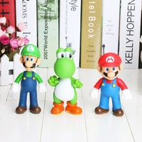 Free Shipping Super Mario Bros Mario Yoshi Luigi PVC Action Figure Collection Model Toys model