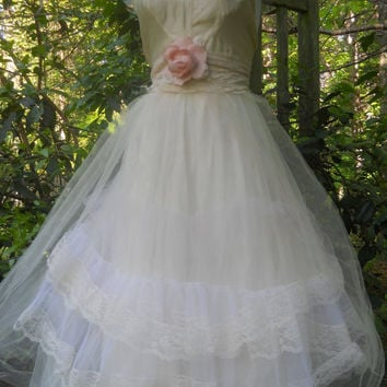 White tulle dress silk  lace wedding  bridesmaid romantic rose medium by vintage opulence on Etsy