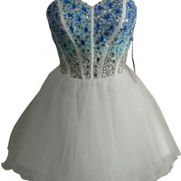 Staychicfashion White Blue Ombre Beaded Short Prom Dress 2016