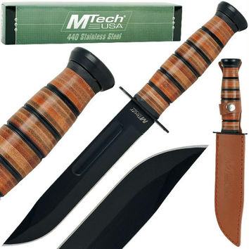 Woodr Combat Ribbed Stainless Steel Survival Knife
