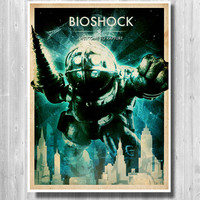 BIOSHOCK poster set, Big Daddy poster, Welcome to Rapture poster set, Bioshock Retro poster set, videogame print set
