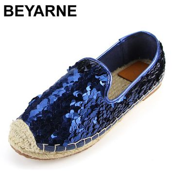 BEYARNE Sequins Paillette Upgrade Straw Rope Braid Espadrilles Alpargata Casual Womens Fashion Flat Shoes Loafers