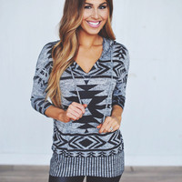 Grey Aztec Hooded Top