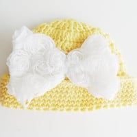 Baby Hat, Newborn Girl Hat, Crochet Baby Hat, Newborn Photo Prop decorated with lace bow kids clothing  spring celebration