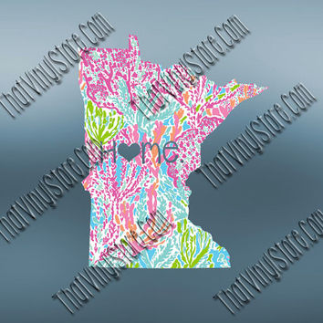 Minnesota Heart Home Decal | I Love Minnesota Decal | Homestate Decals | Love Sticker | Preppy State Sticker | Preppy State | 063