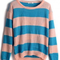 Round Neck Stripe patchwork long sleeve pullover  Patchwork  Pop  style zz919011 in Pullovers - Sweaters - Tops Indressme