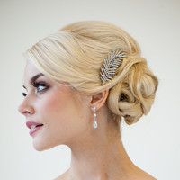 Wedding Hair Accessory Rhinestone Feather by PowderBlueBijoux