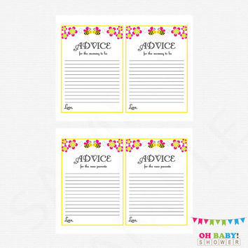 Bee Baby Shower, Advice for Mommy To Be, Floral Baby Shower, Advice for New Parents, Summer Baby Shower, Printable, Baby Advice Cards, BP01