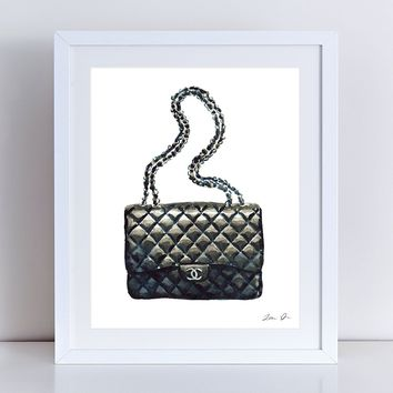 Chanel Bag Print Chanel Handbag Art Coco Chanel Watercolor Fashion Illustration Fashion Art Print Vintage Chanel Preppy Art Print Canvas Art