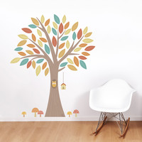 Owl in a Tree Printed Wall Decal