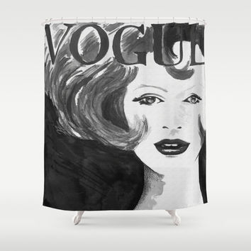 Vintage Vogue (Black & White) Shower Curtain by Nathan Dixon