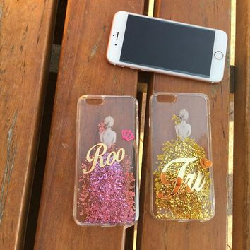 NEW! For iphone 6 6S 7 8 PLUS X Luxury Cute Fashion Exclusive Customize Name Glitter Real Flower Dress Beauty girl soft case