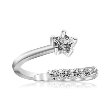 Sterling Silver Rhodium Plated Flower Design White Cubic Zirconia Toe Ring