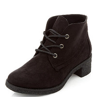 Teens Black Lace Up Block Heel Desert Boots