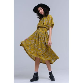 Yellow flower printed maxi dress