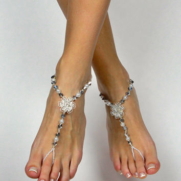Rhinestone Flower Silver Plated Barefoot Sandals
