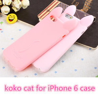 "3D koko cute Ear Cat Rabbit Case For IPhone 6 phone 6G 4.7"" Soft Silicone cases Ear can Open the screen"