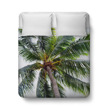 Caribbean Palm - Duvet Cover, Green Coconut Palm Tree Surf Bedding Accent, Beach Bedroom Bed Blanket Throw Cover. In Twin Full Queen King
