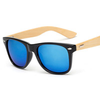 Retro Bamboo Wood Sunglasses Men Women Shades