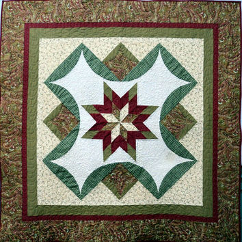 Quilted Wall Hanging Star over Bethlehem Green Red and Cream Paisley Quilt