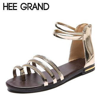 HEE GRAND Women Sandals Crystal Bling Gladiator Flip Flops Summer Casual Shoes For Woman XWZ3742