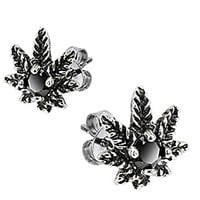 Spikes 316L Surgical Stainless Steel Black CZ Pot Leaf Stud Earring