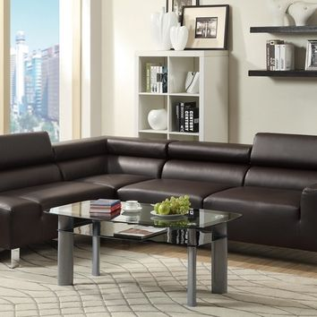 Poundex F7299 2 pc chelsea ii collection espresso bonded leather sectional sofa set with adjustable headrests