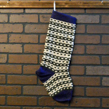 Striped Christmas Stocking, Hand Knit in Blue with Green and Tan Stripes, Can Be Personalized, Housewarming Gift, Wedding Gift, Baby Gift