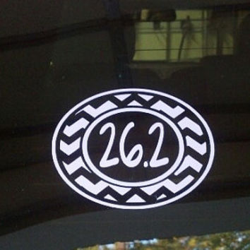 26.2 or 13.1  Marathon Sticker Chevron Single Color Oval Vinyl  Car Decal