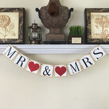 Wedding photo card Banners, Mr and Mrs Sign, Bridal Shower Decorations,  Mr and Mrs Banner, Wedding Banners, Wedding Reception Decorations