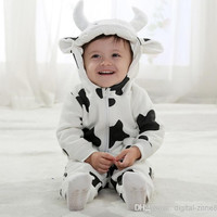 4 Set/lot + New Arrival 2014 Baby Toddler Clothing High Quality Cotton lovely Dairy cow Dress up long-sleeved Suit Outfits For Spring/Autumn