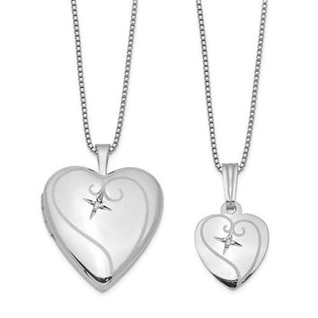 Sterling Silver Mother & Daughter Diamond Locket Set