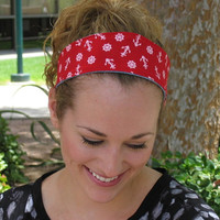 Wide Red Nautical Summer Beach Headband - Reversible