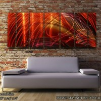 Large Painting - Metal Wall Art - Beautiful Red, Gold, and Magenta Jewel Tone Metallic Wall Painting - Home Decor, Contemporary Wall Art, Modern Wall Accent, Wall Sculpture, Large Art - Tail Spin II by Jon Allen