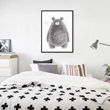 Nordic Minimalist Black White Kawaii Bear A4 Art Print Poster Nursery Wall Picture Canvas Painting Kids Room Decoration No Frame