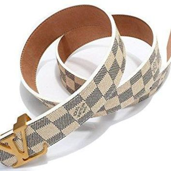 """Fashion Belt Classic White Chess Grid Belt With Gold Buckle 38-40""""(120cm)"""