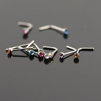 Fashion 20pcs/lot Stainless Steel Crystal Rhinestone Nose Studs Hooks Bar Pin Nose Rings Body Piercing Jewelry For Women