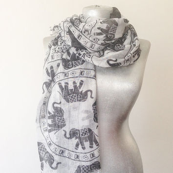 Elephant Scarf Elephant Print Scarf Elephant Pareo Boho Scarf Women's Accessories Gift for Her Fashion Accessories
