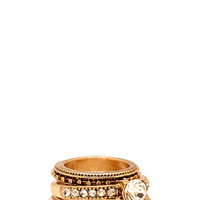 FOREVER 21 Etched Rhinestone Ring Set Antic Gold/Clear