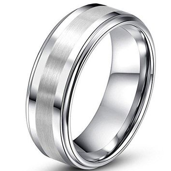 6mm Tungsten Silver Ring One Tone Matte Finish Brushed Center Wedding Engagement White Band (Platinum)