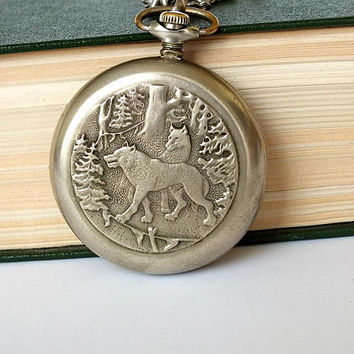 Open Face Hunters Pocket Watch MOLNIJA. Mens Pocket Watch Wolfs In A Wild Russian Forest. Vintage Watch, German Silver Case, Chain. Gift him