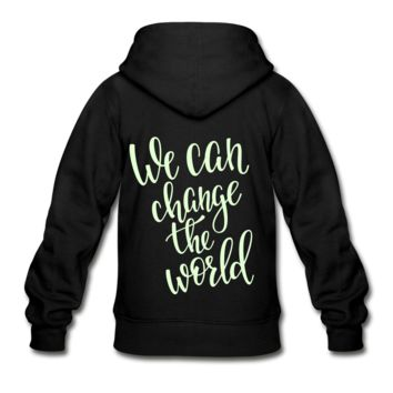 We Can Change the World Glow in the Dark Youth Zip Hoodie
